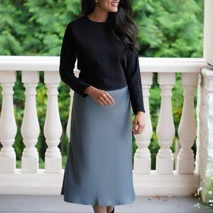 Grey satin midi skirt
